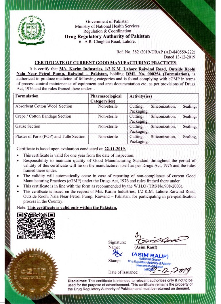 GMP Certificate valid upto 22.11.2020