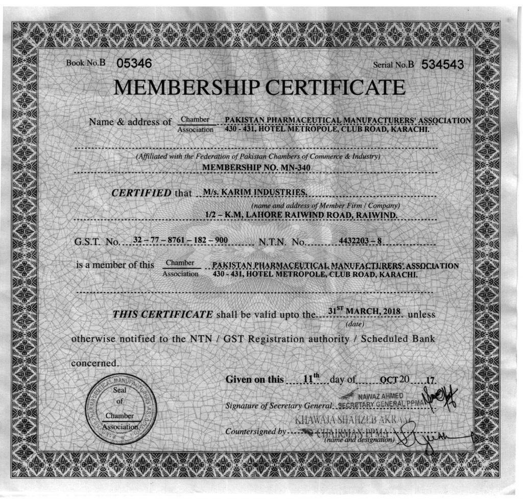Membership Certificate PPMA